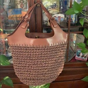 Free people woven brown tote purse
